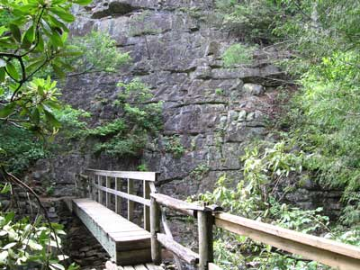 foot bridge across Laurel Fork
